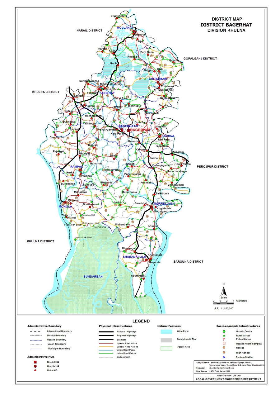 Bagerhat District Map Bangladesh