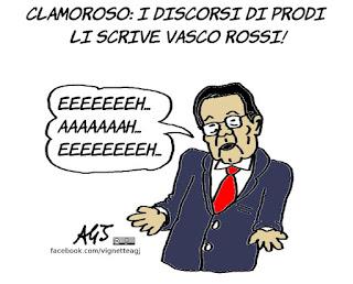 Romano Prodi, Vasco Rossi, discorsi, canzoni, vignetta, satira