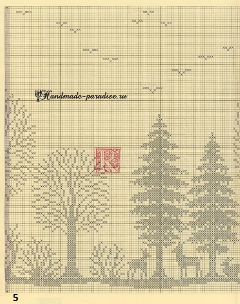 Лес. Филейные шторы крючком и вышивка (5)