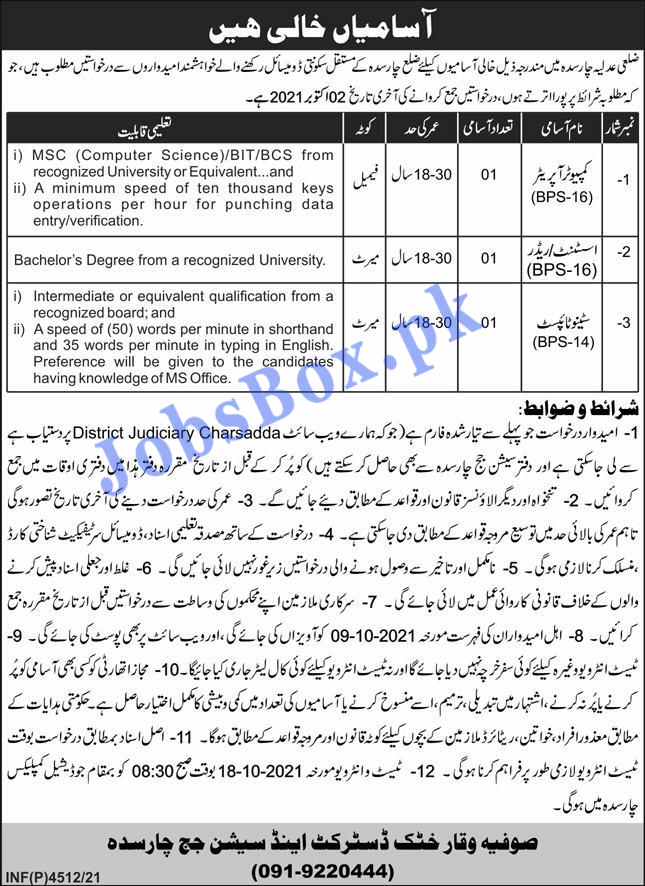 District and Session Courts Charsadda Jobs 2021 – Application Form