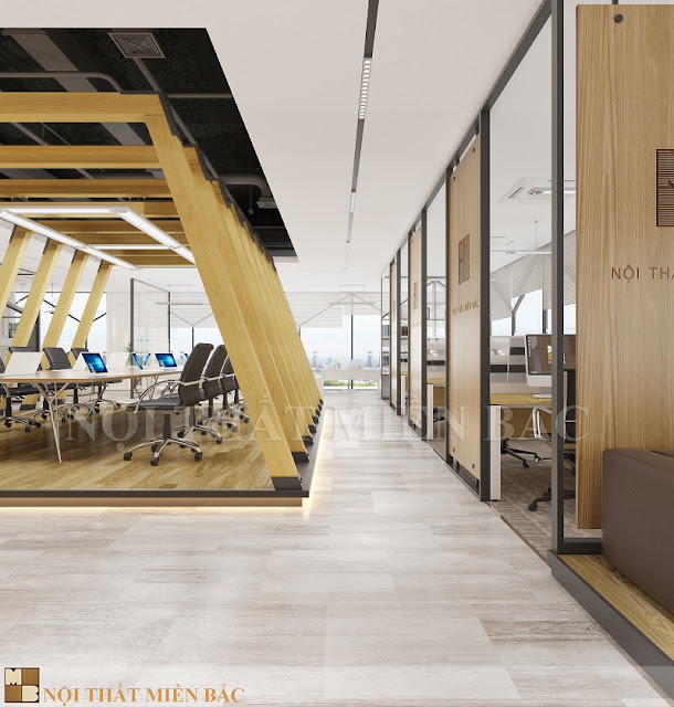 Mẫu thiết kế nội thất văn phòng hiện đại này sẽ giúp các nhân viên tăng sự tương tác lẫn nhau