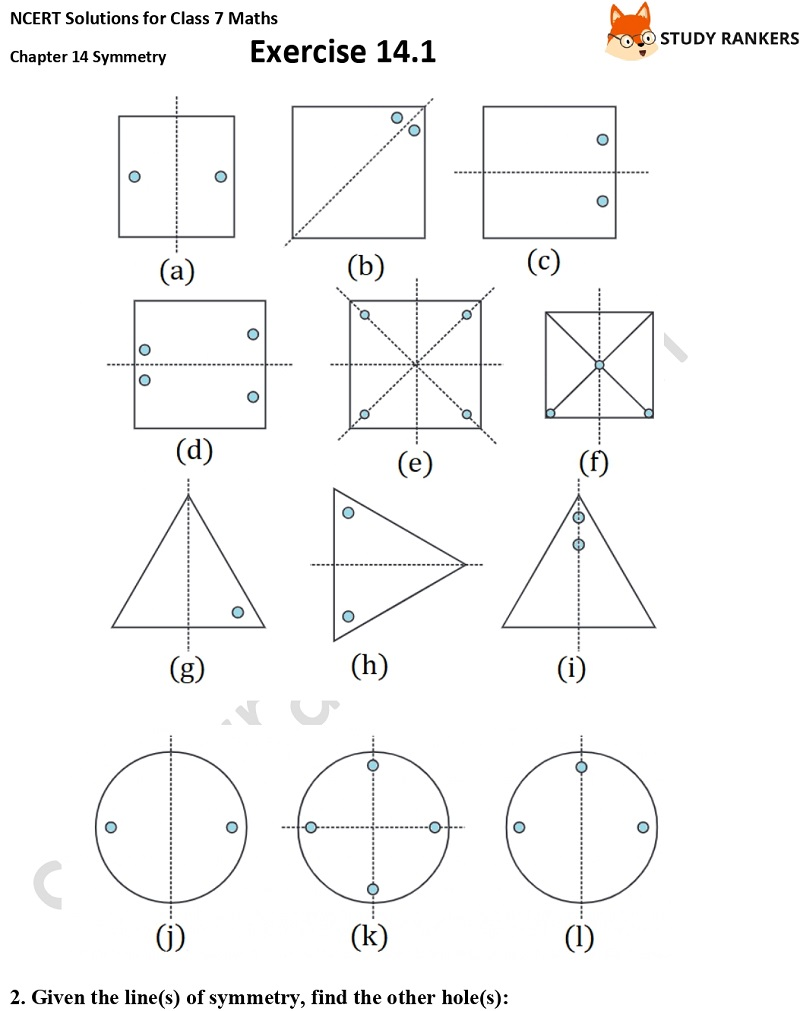 NCERT Solutions for Class 7 Maths Chapter 14 Symmetry Exercise 14.1 Part 2