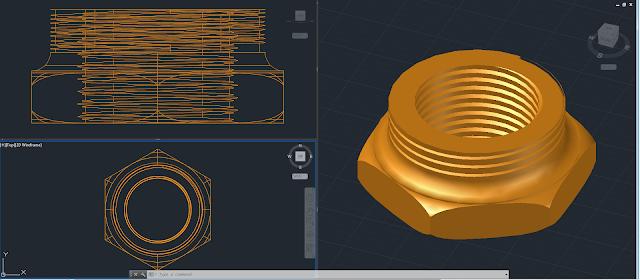 AutoCAD 3D y Render - pieza 5 - Reducción hexagonal 5