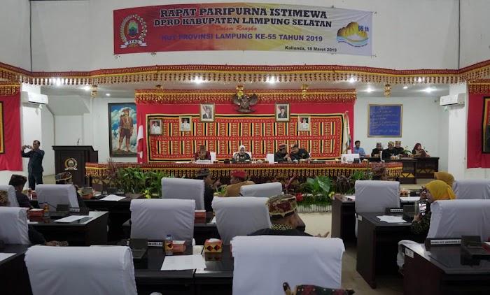 DPRD Lampung Selatan Gelar Paripurna Istimewa HUT Provinsi Lampung ke-55.