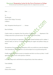 resignation letter format for lecturer in college