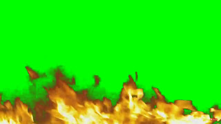 Flames rising on a green background.