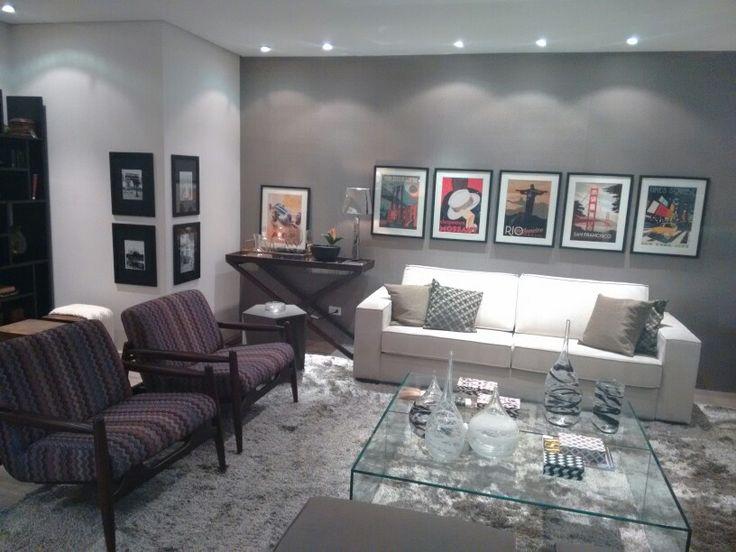 Sala De Estar Branca E Cinza ~  de decoração de interiores Sala de Estar e Jantar com Cinza