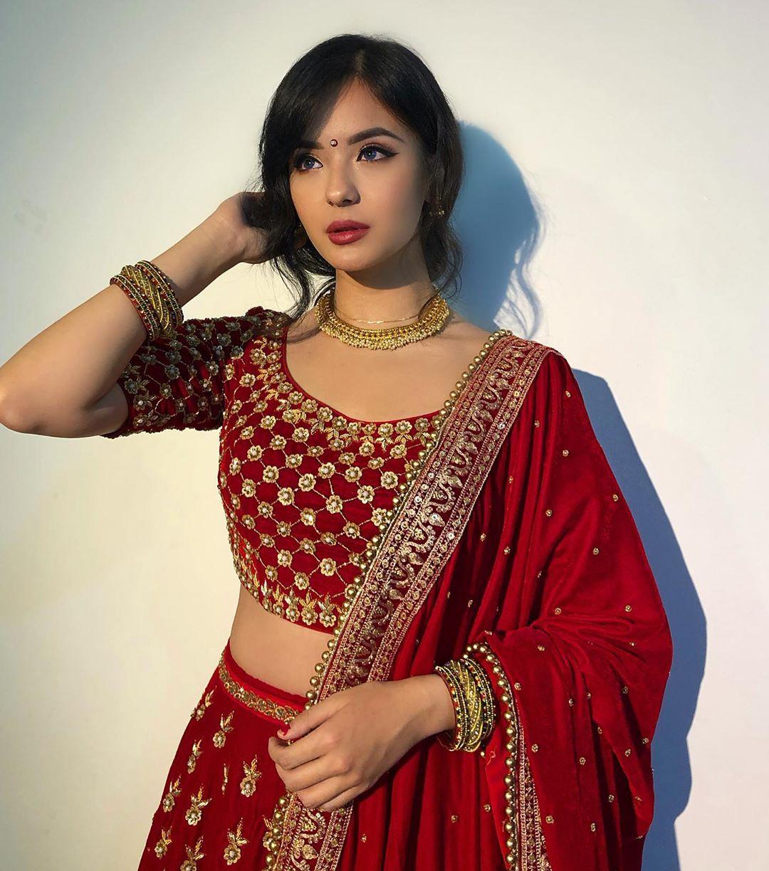 Jassita Gurung in Red lehenga