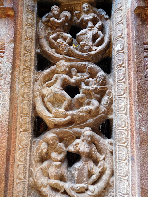 A decorative relief of dancers and musicians in the Bhoga Nandeeshwara Temple, Karnataka