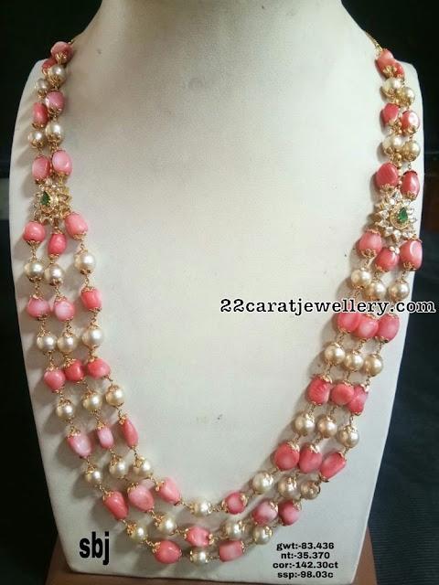 Pink Coral Beads Long Haram