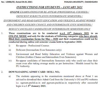 Panjab University Admit card 2021