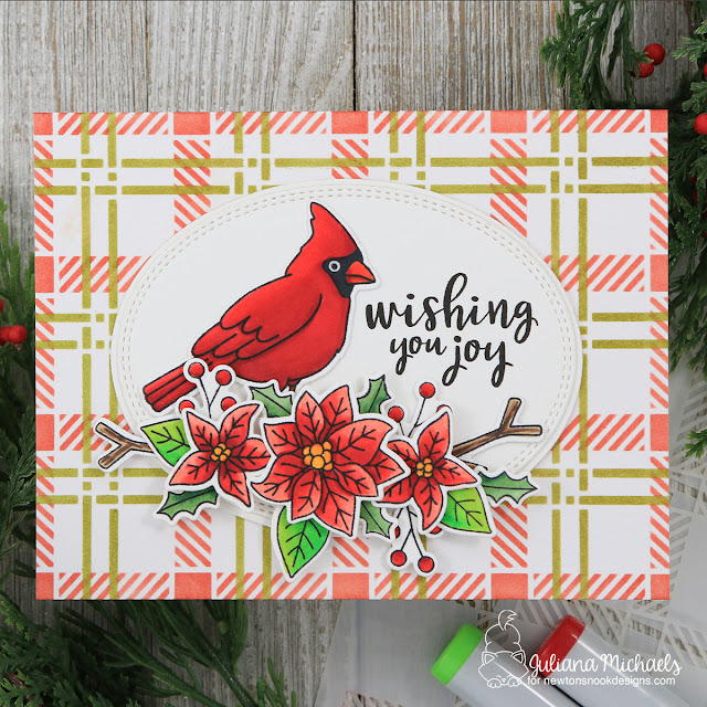 Joy Christmas Card by Juliana Michaels featuring Newton's Nook Designs Poinsettia Blooms and Winter Birds Stamp Set