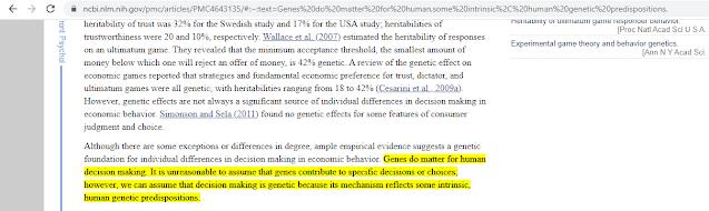 NCBI about Genes Impact on decision making