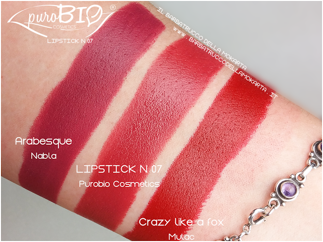 comparazioni , matita n 40, lipstick n 07 ,  rossetti purobio , lipstick, vegan makeup, bio makeup