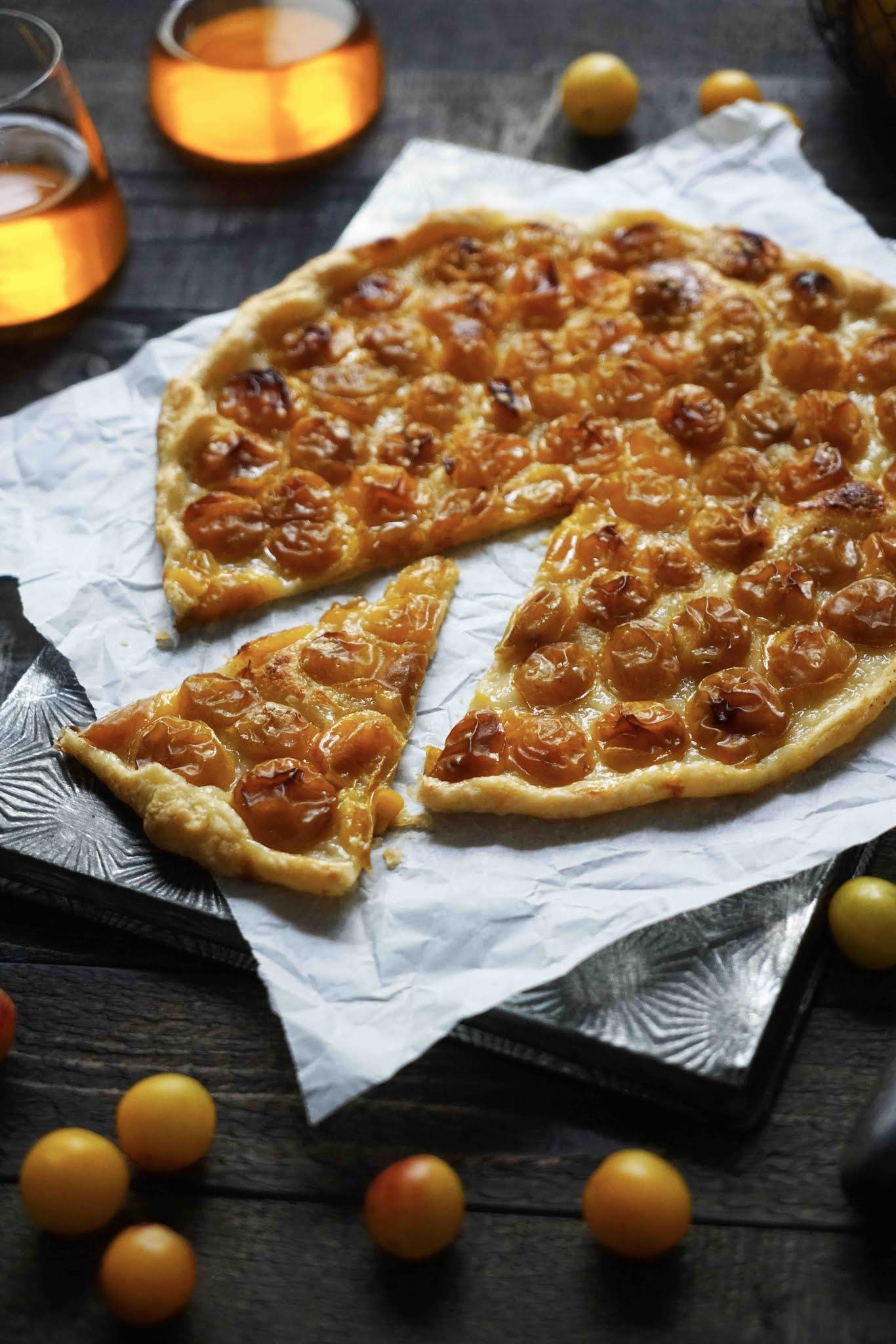 tarte de saison, dessert aux prunes, mirabelles
