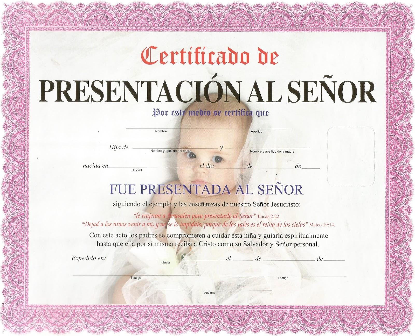 c92725c29 Certificado de presentacion al Señor (Niña)
