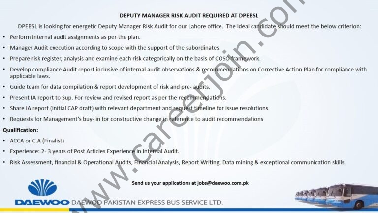 jobs@daewoo.com.pk - Daewoo Pakistan Express Bus Service Ltd Jobs 2021 in Pakistan