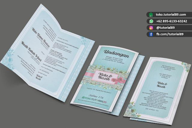 Undangan pernikahan 89.S176 - Seimpel Lipat 2 +stiker label undangan