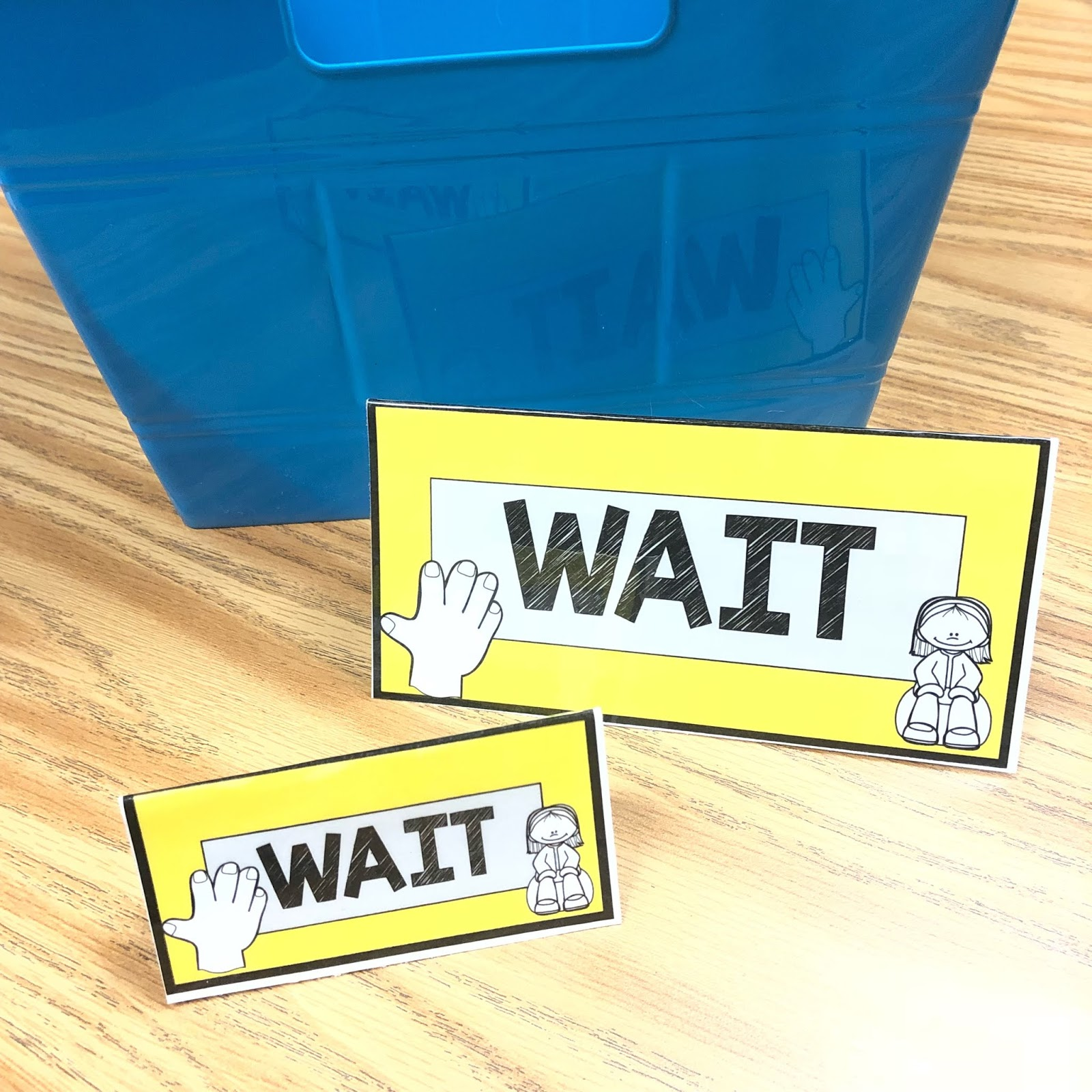 WAIT card tents for student behavior support