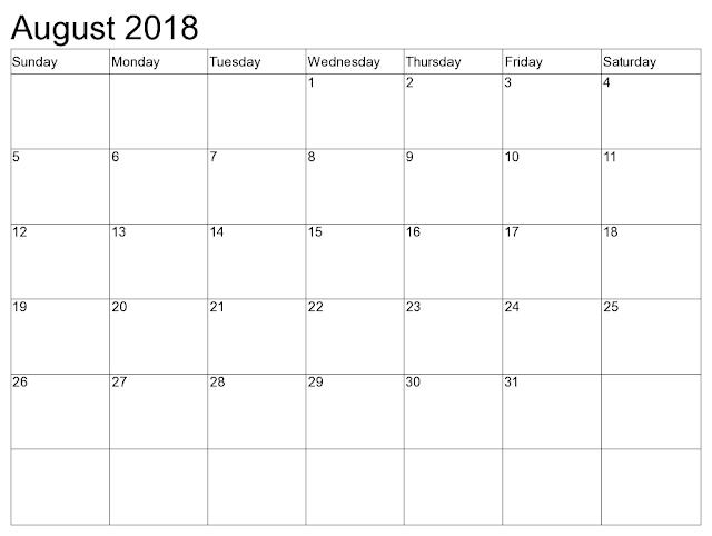 August 2018 printable calendar A4