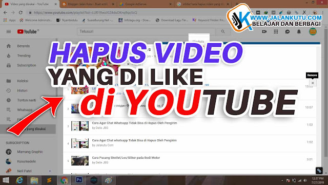 Cara hapus video yang disukai di Youtube