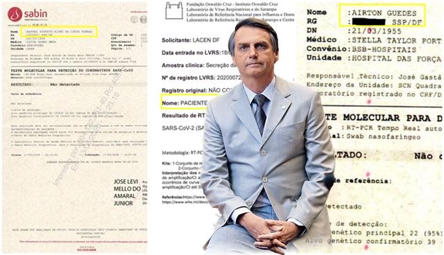 Bolsonaro usou codinomes nos testes de coronavírus para preservar identidade