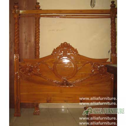 tempat tidur kanopi kain ukiran dialora