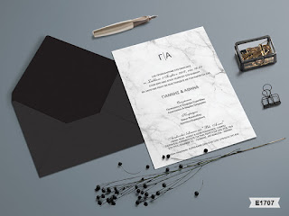 wedding invitations black marble