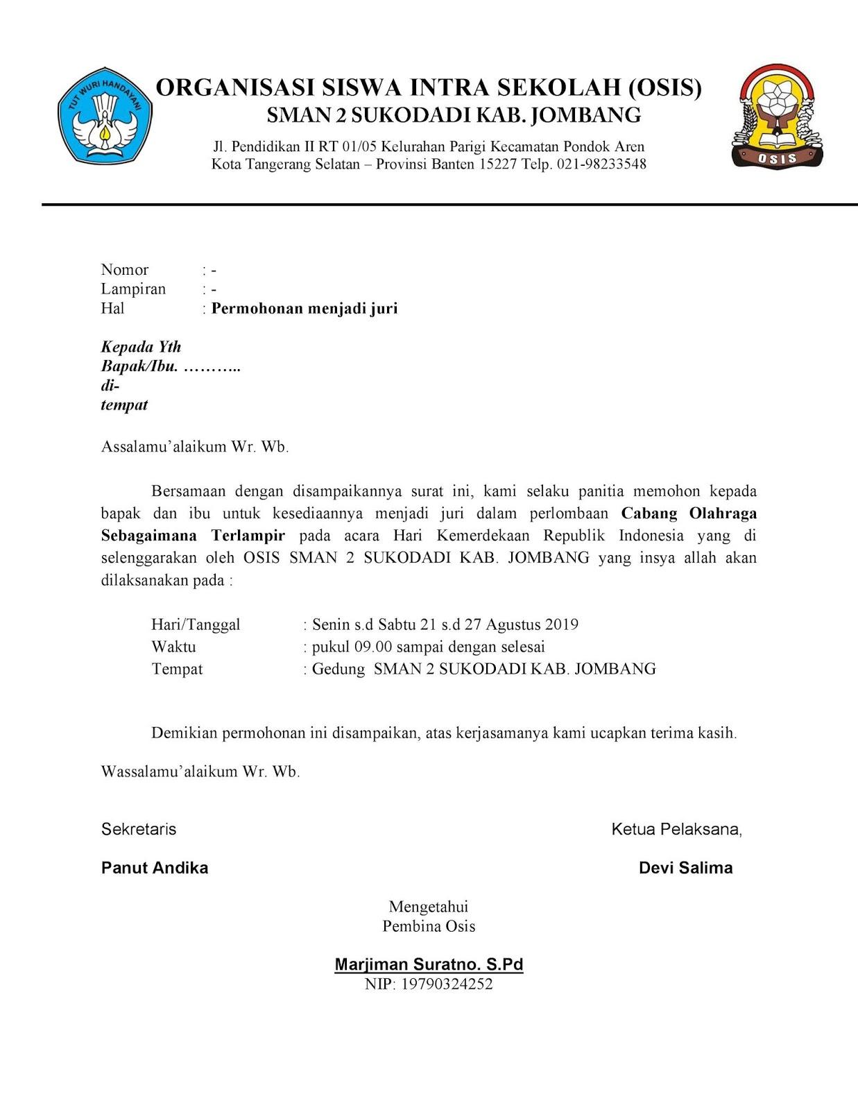 Contoh Surat Undangan Juri Lomba, Membuat Surat Permohonan