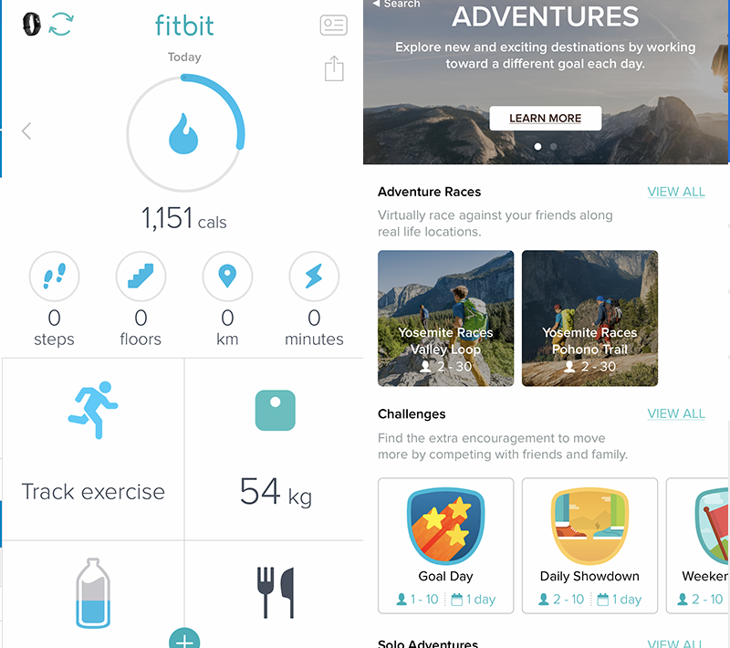 Fitbit app's Dashboard (left) and Challenges (right) features