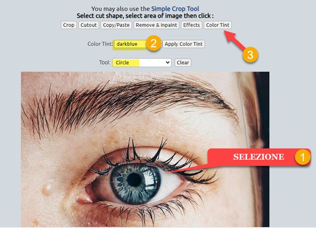 cambiare il colore degli occhi con lunapic
