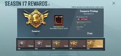 PUBG Mobile Conqueror rewards