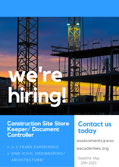 Vacancy for a Construction Site Store Keeper/ Document Controller