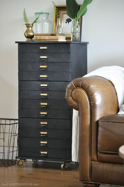 Chalkboard faux specimen file drawers