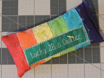 rainbow pincushion decorative stitches QUILTsocial