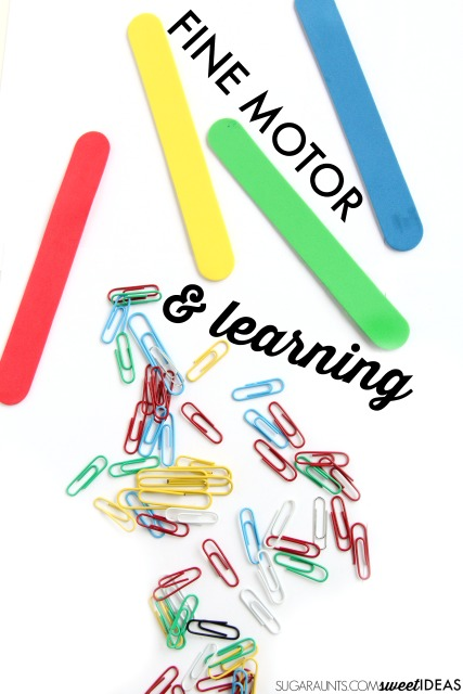 Use paper clips and foam craft sticks to work on counting, addition, and subtraction as well as color recognition and color matching.