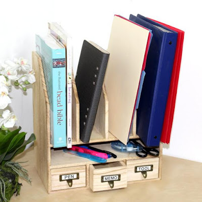 The Wooden File Desk Organizer from Nile Corp can help remove the clutter from your work desk