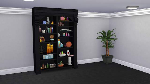 It is an EA library that I have removed the books and added many slots. They can place on the shelves, the amount of ornaments they want to make their spaces look more realistic. I have recoloured it in 3 shades of wood, white, and black. Let's enjoy it!!!!!
