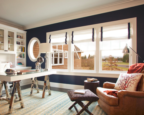 Benjamin Moore Old Navy blue wall paint idea