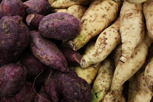 Vemos muitas batatas-doces por aqui!