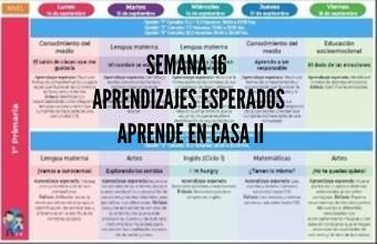 Semana 16 Aprende en Casa II Aprendizajes Esperados