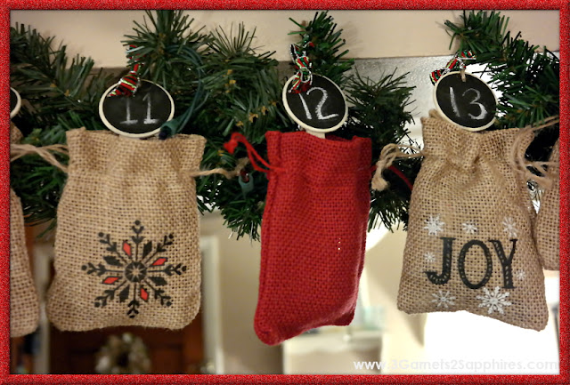Easy DIY Advent Calendar  |  www.3Garnets2Sapphires.com