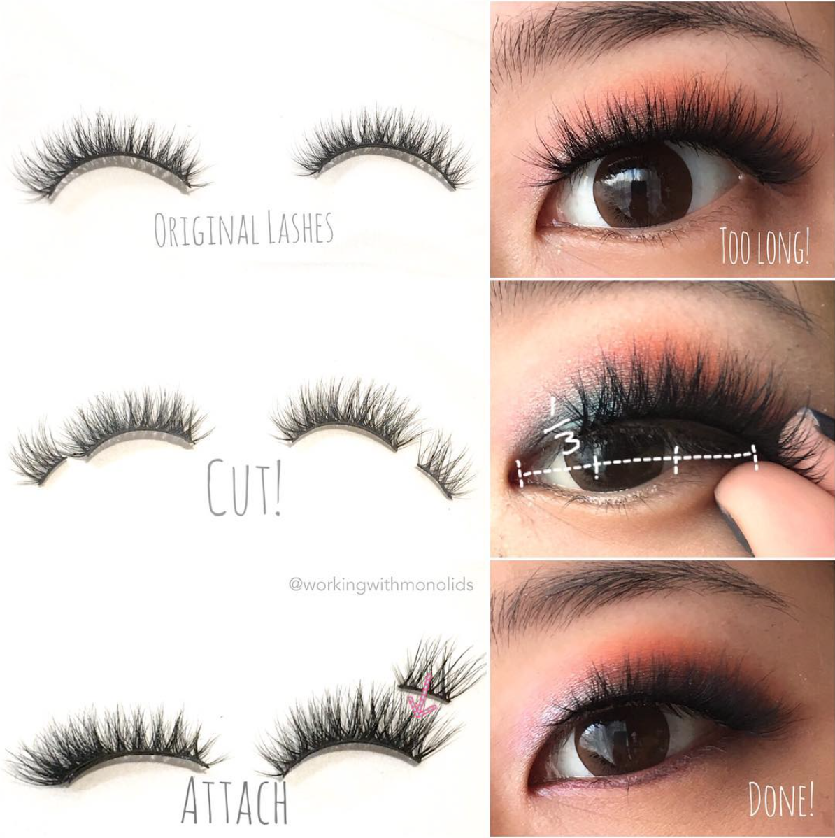 Workingwithmonolids tutorial how to modify false lashes for first of all i measure how much of the lashes i need to cut off for asian eyes i find that letting the lashes cover your entire lash line often ends up baditri Gallery