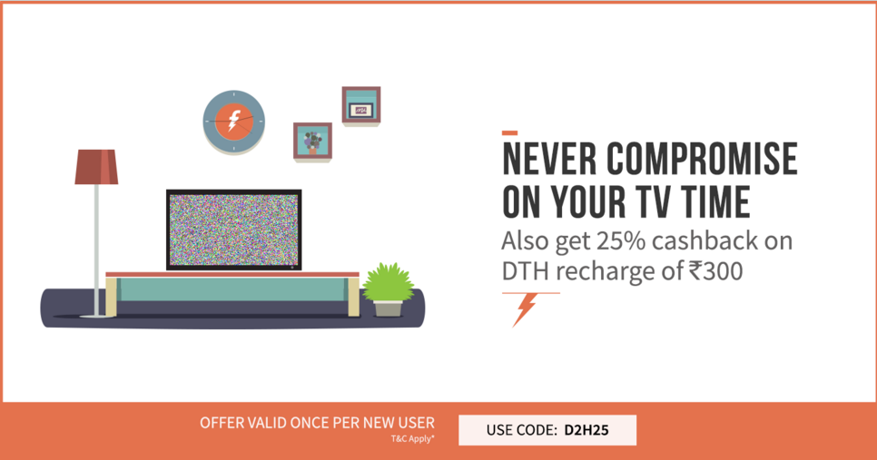 Freecharge 25% Cashback Offer On DTH Recharge of Rs.300 Or MOre