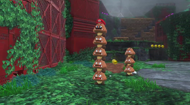 Super Mario Odyssey possessed Goomba column pillar cap