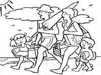 דף צביעה משפחה הולכת לים
