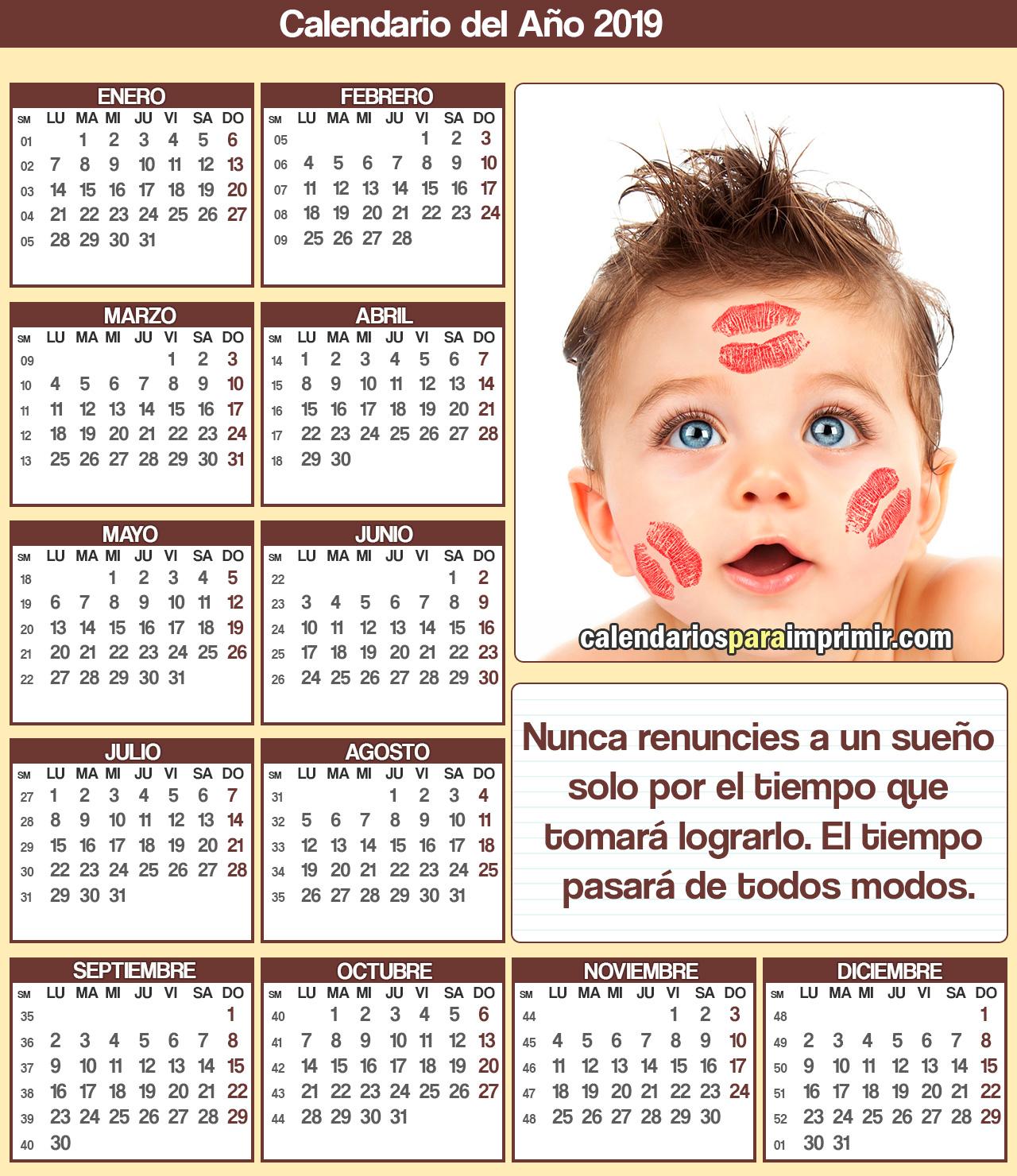 calendarios para imprimir con frase de reflexion 2019