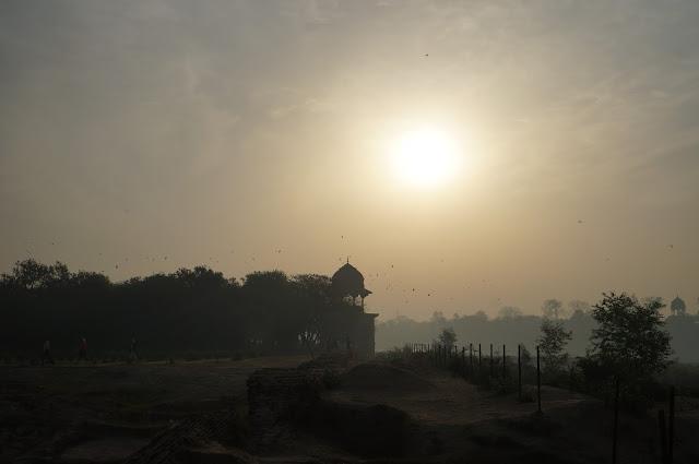 Menikmati Pagi di Mehtab Bagh Agra, India