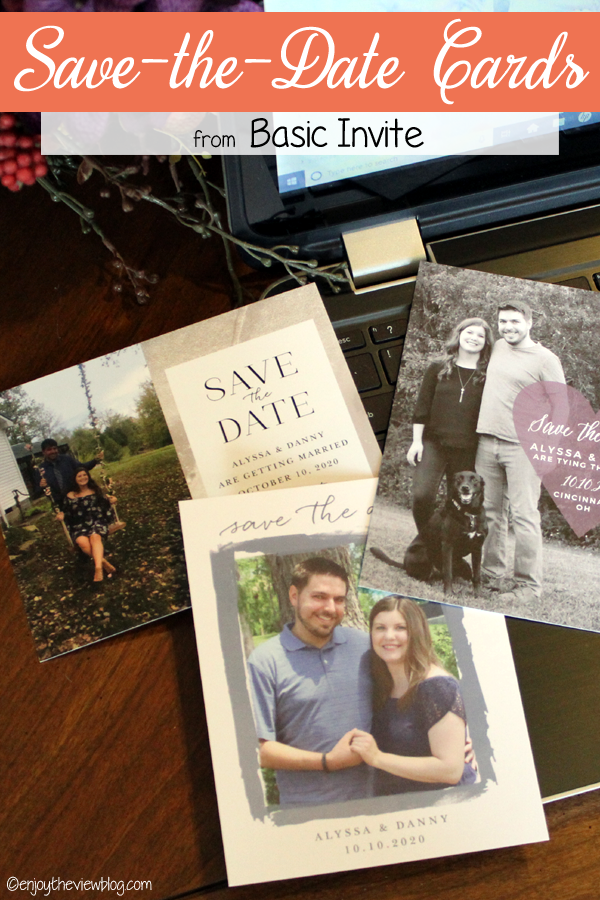 Pinnable image of three Basic Invite Save-the-Date cards lying on an open laptop computer