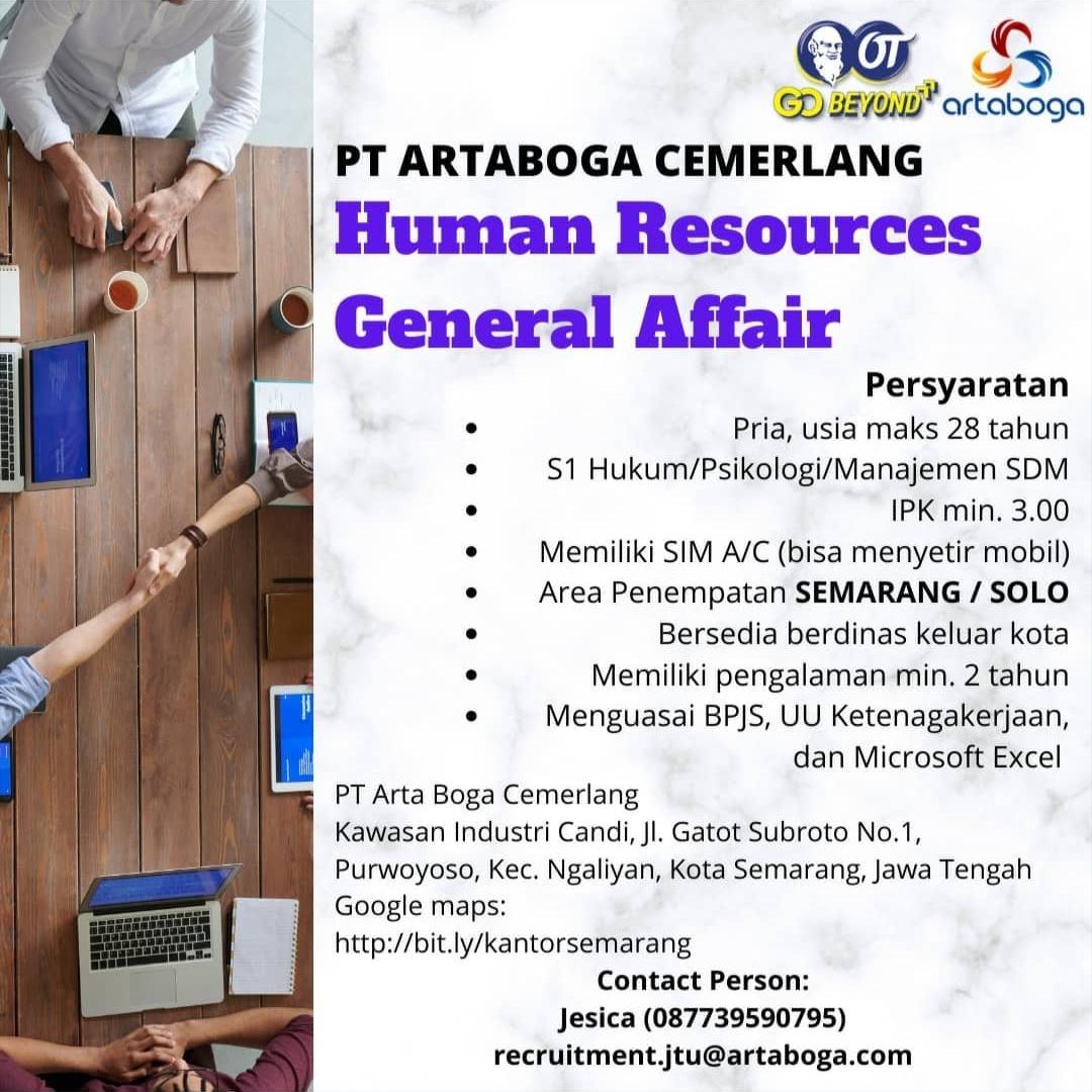 PT Arta Boga Cemerlang Semarang & Solo Membuka Lowongan Kerja Untuk Posisi Human Resources General Affair